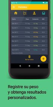 Seguimiento de peso y dieta - Asistente de IMC captura de pantalla 3