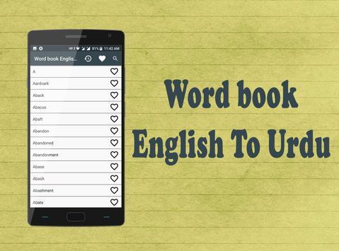 Word book English To Urdu poster