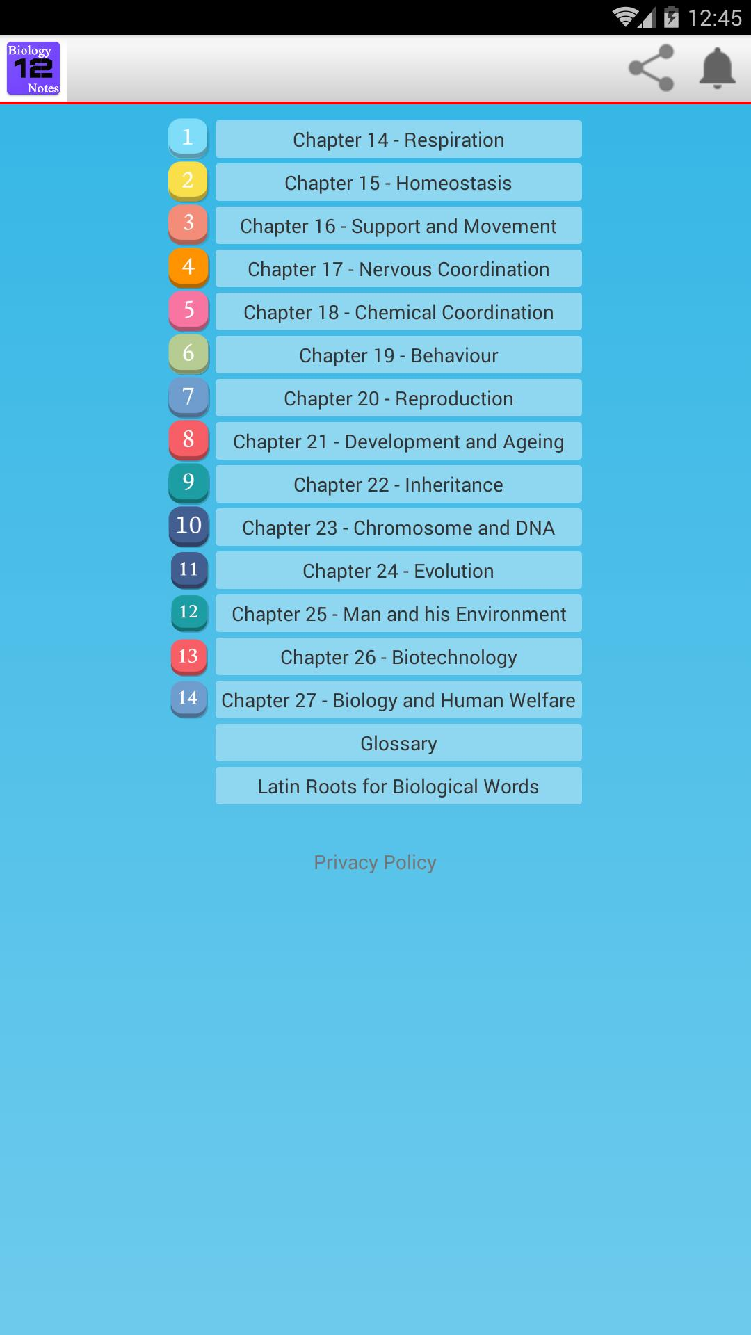 Class XII Biology Notes solved exercises, MCQs for Android