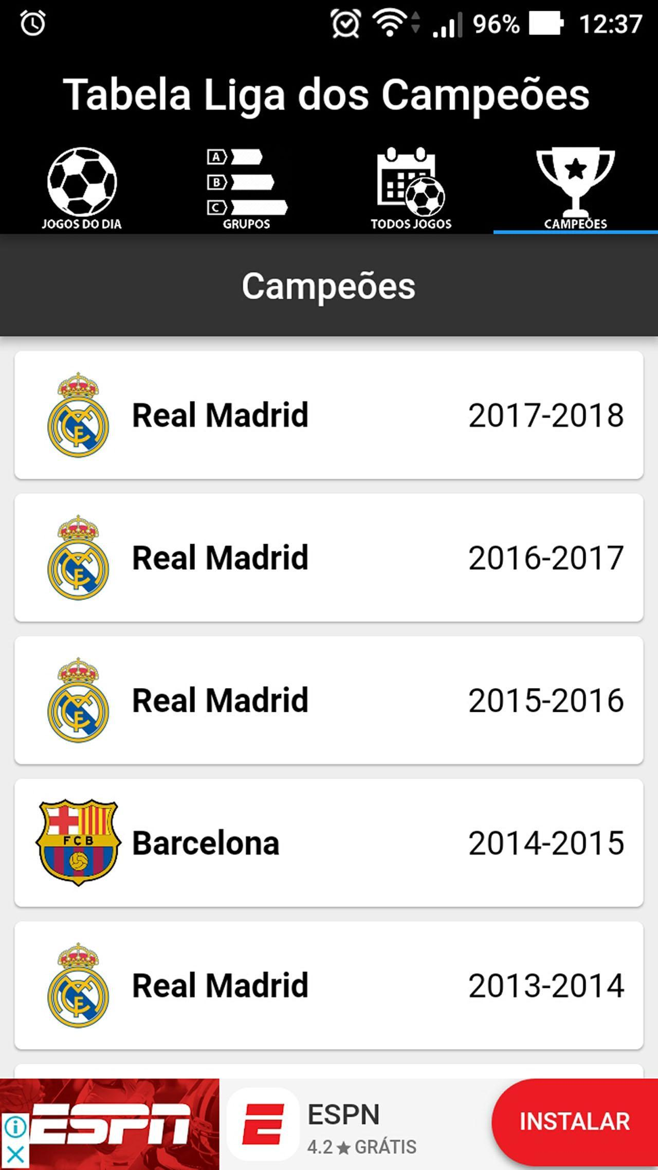 Champions League Table 2018/2019 for Android - APK Download