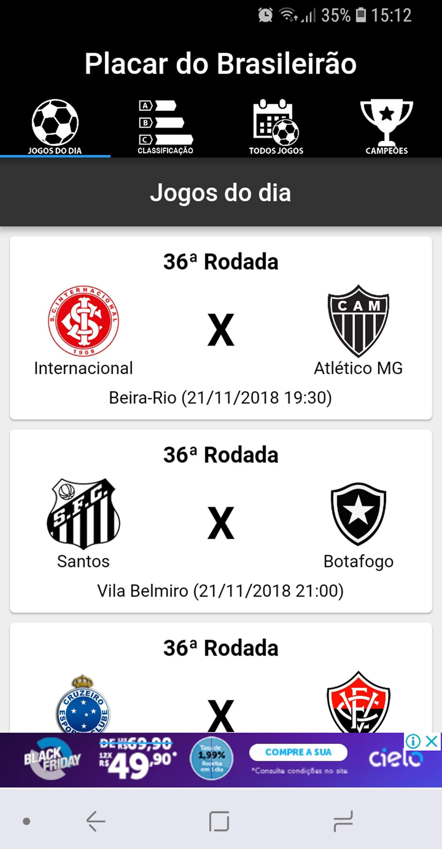 Placar Brasileirao Serie A 2019 Classificacao For Android Apk Download
