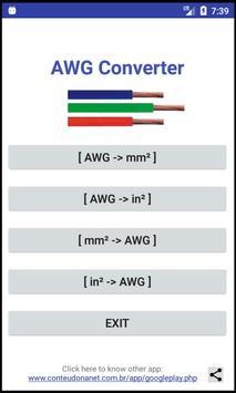 AWG -> mm²/in² -> AWG - Converter poster
