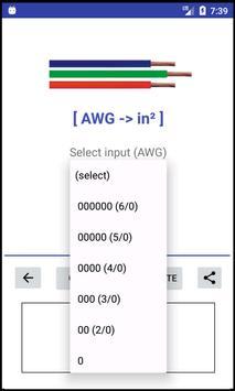AWG -> mm²/in² -> AWG - Converter screenshot 1