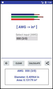 AWG -> mm²/in² -> AWG - Converter screenshot 2