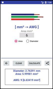 AWG -> mm²/in² -> AWG - Converter screenshot 3