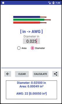 AWG -> mm²/in² -> AWG - Converter screenshot 4