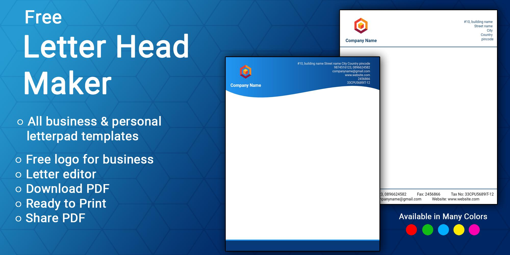 Letterhead Maker Business Letter Pad Template Logo For Android Apk Download