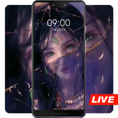Girl wearing a veil live wallpaper icon