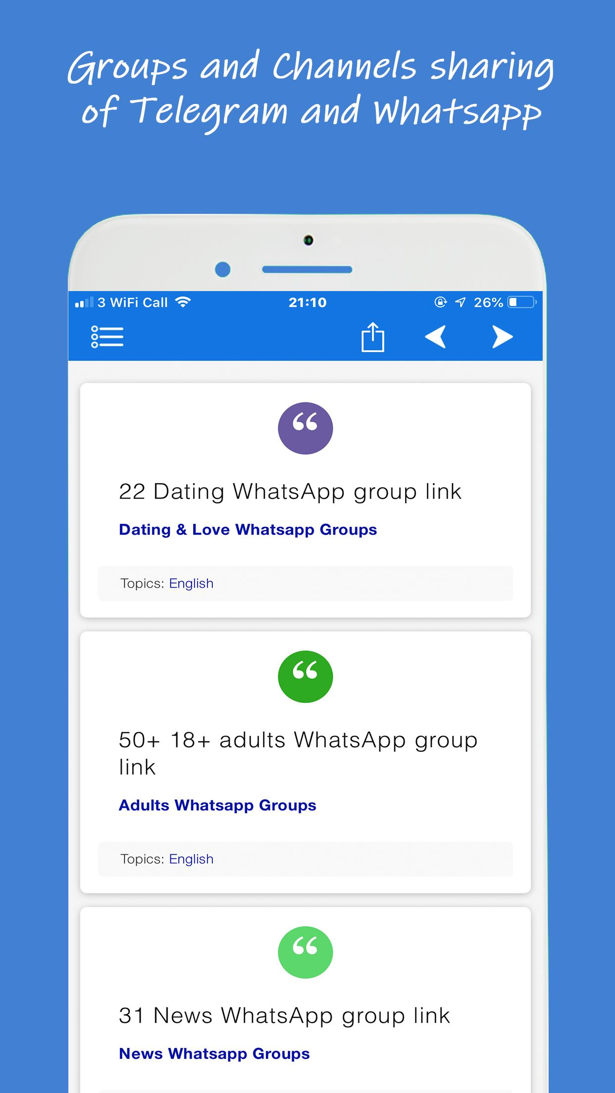 WhatsTelegroups - Groups and channels sharing app for