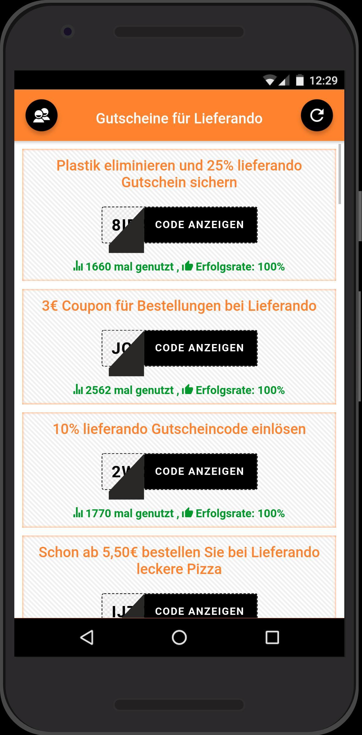 Gutscheine für Lieferando pour Android   Téléchargez l'APK