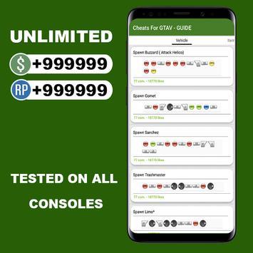 Cheats For GTA V (GUIDE PS4/XBOXONE) screenshot 3