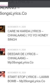 Mp3SongsLyrics Hindi Songs Lyrics - APK Download screenshot 1