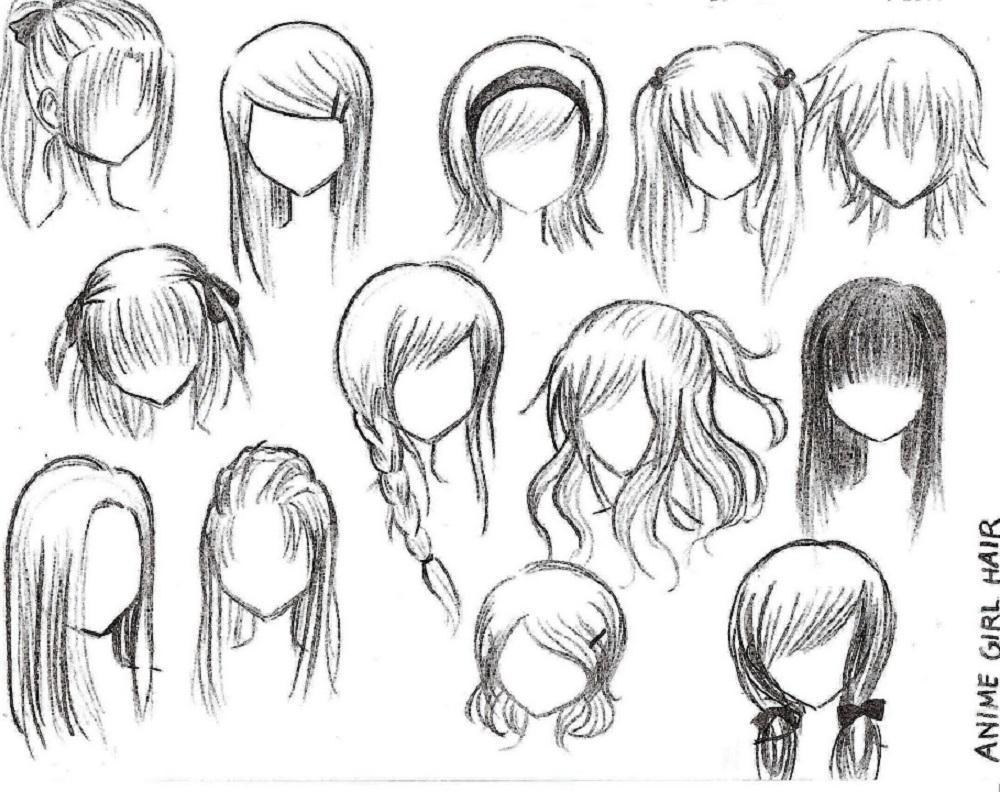 Рисунки волос аниме
