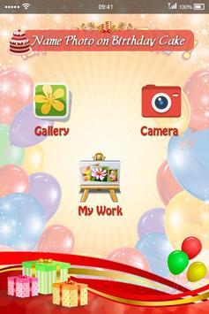 Name Photo on Birthday Cake poster