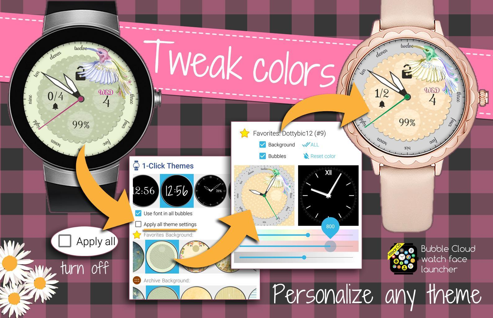 Free 24-hour Analog Watch Face Theme Bubble Cloud cho