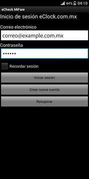 eCheck MiFare screenshot 2