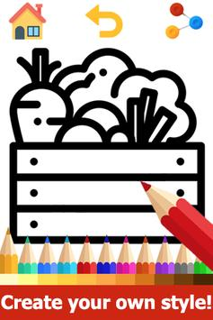Food Coloring Pages: Fruits and Vegetables Images screenshot 2