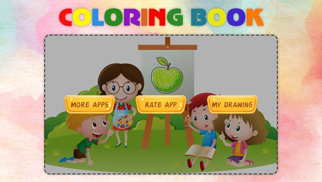 Fruits Vegetables Coloring Book Game poster