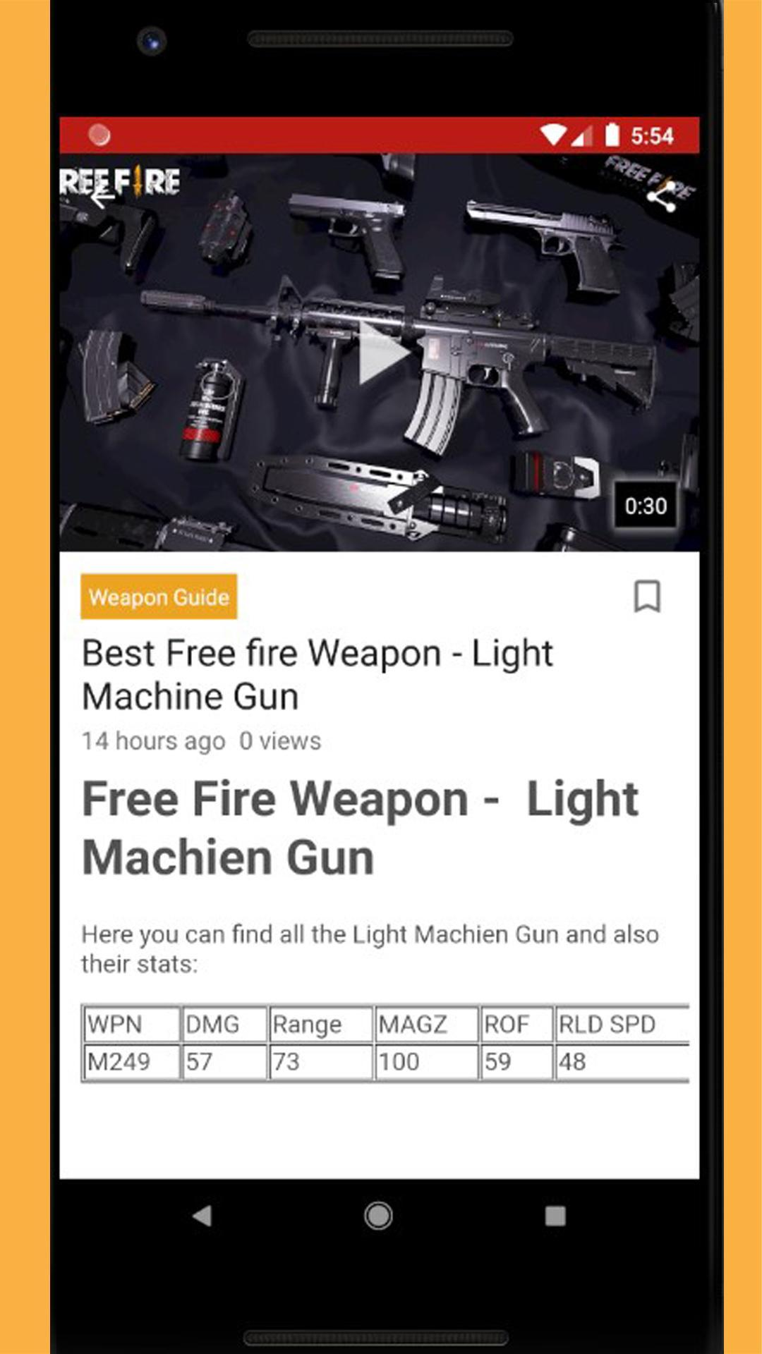 Free-fire Guide 2019: Weapon, Diamond, Character for Android