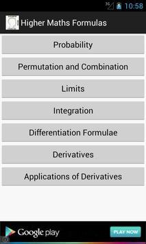 Higher Maths Formulas poster