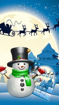 3D Cute Christmas Snow Man Keyboard Theme poster