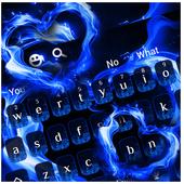 Blue Flame Love Heart Keyboard icon