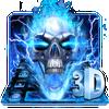 Horrible 3D Blue Flaming Skull Keyboard ícone