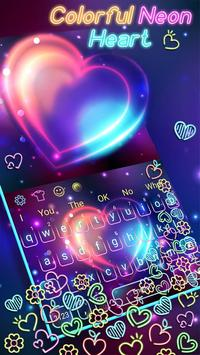 Colorful Neon Heart Gravity Keyboard poster