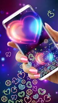 Colorful Neon Heart Gravity Keyboard screenshot 1