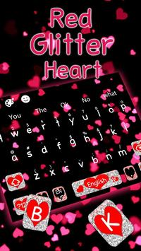 Live Red Glitter Heart Keyboard Theme poster
