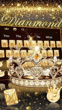 Gold diamond crown Keyboard Theme screenshot 1