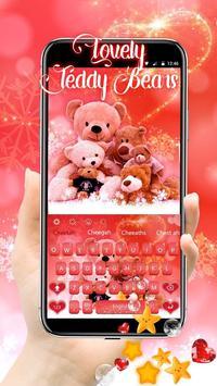 Glitter Red Lovely Bear Keyboard Theme poster