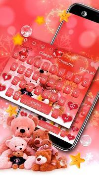 Glitter Red Lovely Bear Keyboard Theme screenshot 1