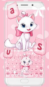 Adorable Girly Pink Kitty Keyboard Theme poster
