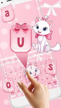 Adorable Girly Pink Kitty Keyboard Theme screenshot 1