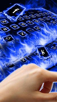Blue Flaming Fire Keyboard Theme poster