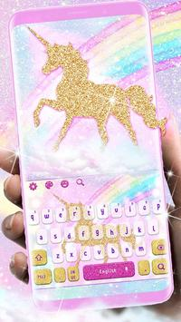 Glossy Glitter Dream Unicorn Keyboard poster