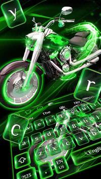 Green Neon Bike keyboard poster