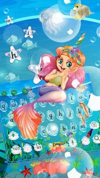 Cute Unicorn Mermaid Keyboard Theme screenshot 3