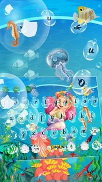 Cute Unicorn Mermaid Keyboard Theme screenshot 1