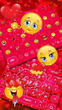 Red Love Heart Keyboard Theme screenshot 2