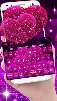 Glitter Sparkling Heart Keyboard Theme screenshot 1