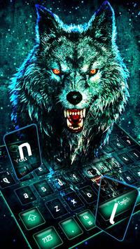 Neon Scary Wolf Keyboard Theme poster
