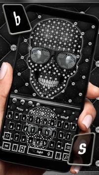 Diamond Black Skull Keyboard Theme poster
