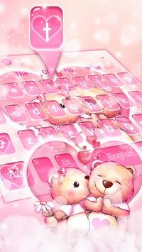 Pink Teddy Couple Love Keyboard Theme screenshot 1