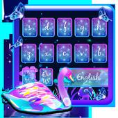 Neon Purple Galaxy Swan Keyboard Theme icon