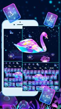 Neon Purple Galaxy Swan Keyboard Theme poster