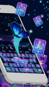 Neon Purple Galaxy Swan Keyboard Theme screenshot 1