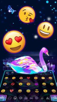 Neon Purple Galaxy Swan Keyboard Theme screenshot 2