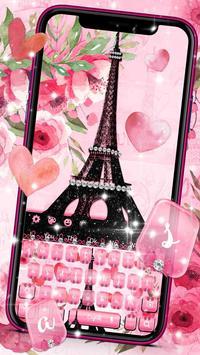 Pink Paris Eiffel Tower Keyboard poster
